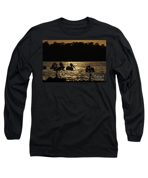 Long Sleeve T-Shirt featuring the photograph White Pelican Evening by Dan Friend