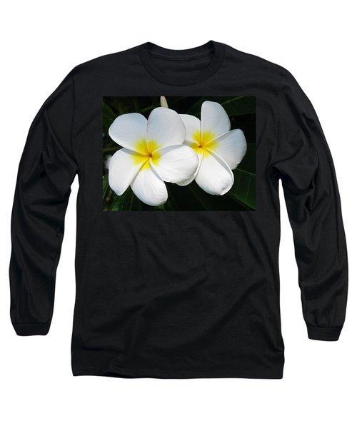 White Plumerias Long Sleeve T-Shirt