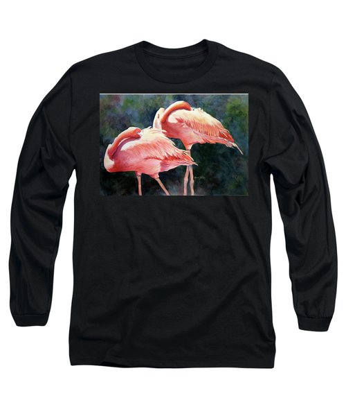 Who's Peek'n - Flamingos Long Sleeve T-Shirt