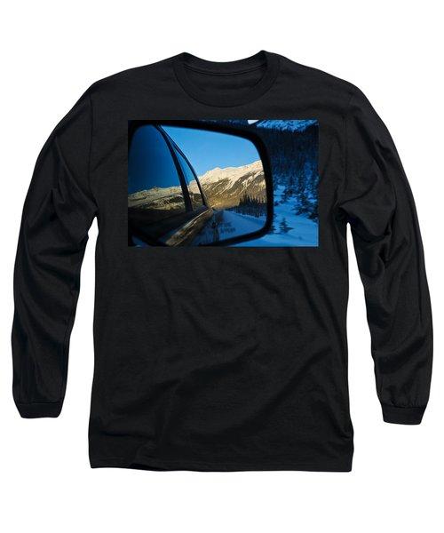 Winter Landscape Seen Through A Car Mirror Long Sleeve T-Shirt