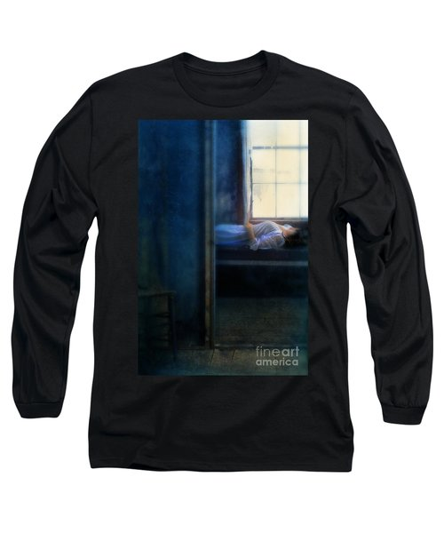 Woman In Nightgown In Bed By Window Long Sleeve T-Shirt