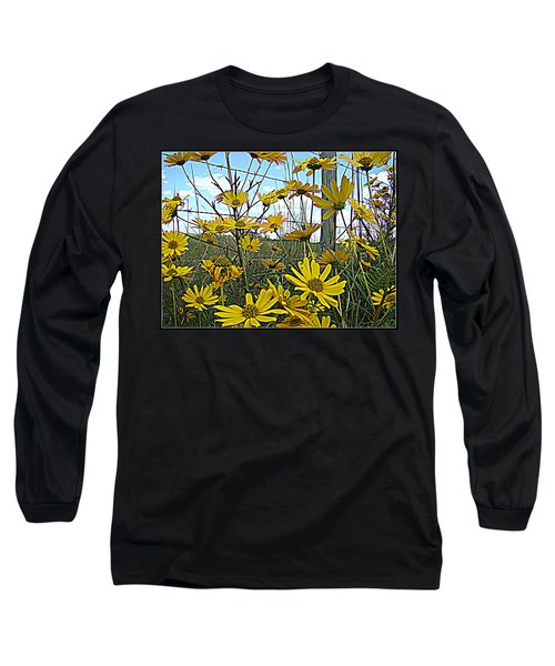 Long Sleeve T-Shirt featuring the photograph Yellow Flowers By The Roadside by Alice Gipson