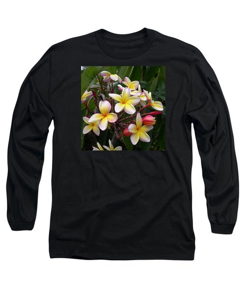 Yellow Plumeria Long Sleeve T-Shirt by Claude McCoy