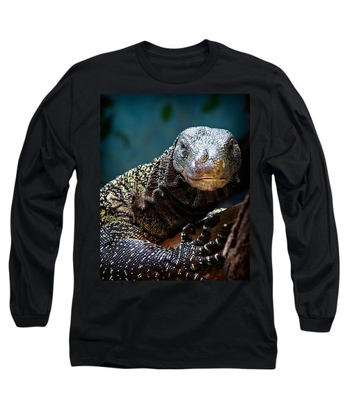Long Sleeve T-Shirt featuring the photograph  A Crocodile Monitor Portrait by Lana Trussell