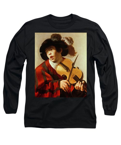 Boy Playing Stringed Instrument And Singing Long Sleeve T-Shirt