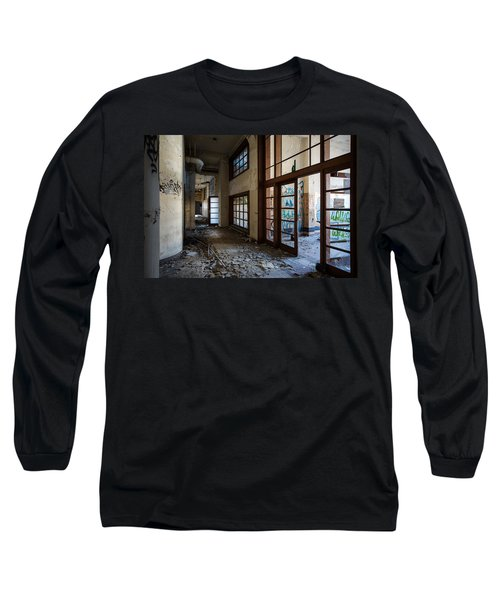 Long Sleeve T-Shirt featuring the photograph  Demolished School Building- Urban Exploration by Dirk Ercken