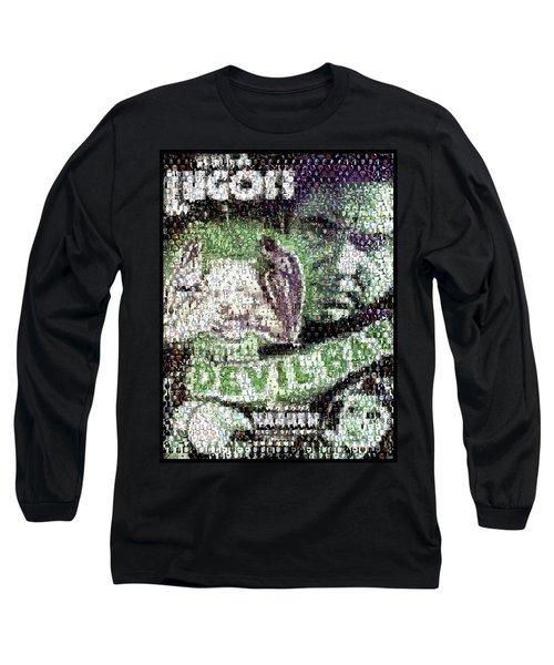 Long Sleeve T-Shirt featuring the mixed media  Devil Bat Movie Poster Horror Mosaic by Paul Van Scott