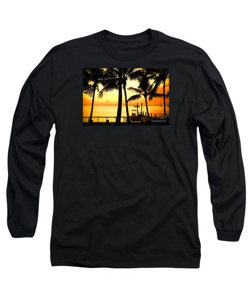 Long Sleeve T-Shirt featuring the painting  Palm Sunset On The Keys by Judy Kay