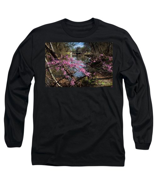 Redbuds And A Distant Bridge Long Sleeve T-Shirt