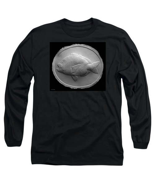 Long Sleeve T-Shirt featuring the relief  Relief Saltwater Fish Drawing by Suhas Tavkar
