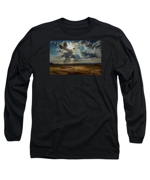 Stormy  Light Rays  Long Sleeve T-Shirt by Arik Baltinester