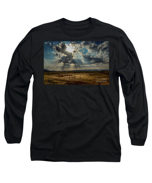 Long Sleeve T-Shirt featuring the photograph  Stormy  Light Rays  by Arik Baltinester