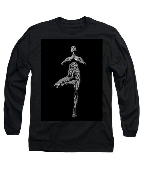 0027-dja Yoga Balance Black White Zebra Stripe Photograph By Chris Maher Long Sleeve T-Shirt by Chris Maher