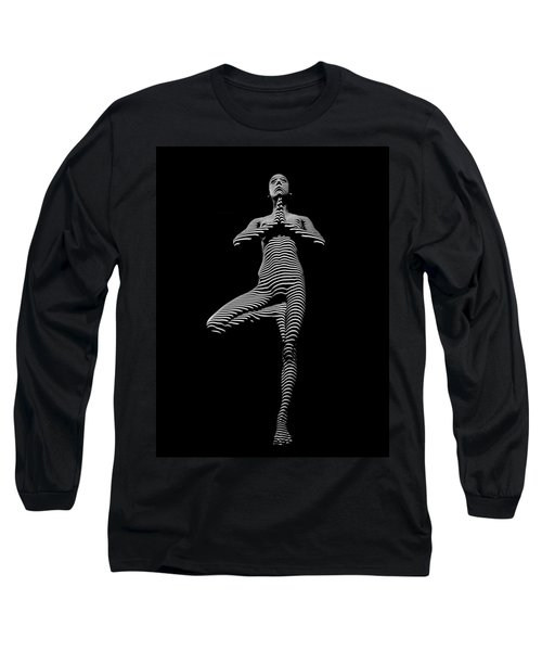 0027-dja Yoga Balance Black White Zebra Stripe Photograph By Chris Maher Long Sleeve T-Shirt