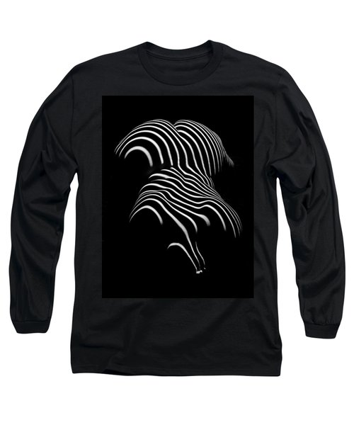 0721-ar Black And White Fine Art Nude Abstract Big Woman Bbw Long Sleeve T-Shirt by Chris Maher