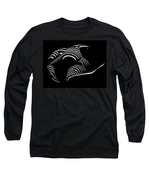0758-ar Rear View Bbw Zebra Woman Large Full Figured Powerful Female Black And White Abstract Maher Long Sleeve T-Shirt by Chris Maher