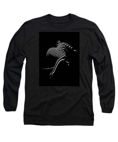 0773-ar Striped Zebra Woman Side View Abstract Black And White Photograph By Chris Maher Long Sleeve T-Shirt by Chris Maher