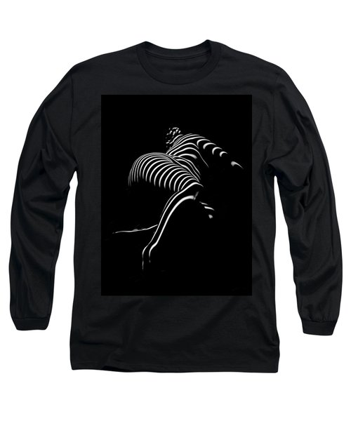 0773-ar Striped Zebra Woman Side View Abstract Black And White Photograph By Chris Maher Long Sleeve T-Shirt