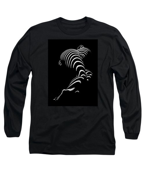 0774-ar Zebra Striped Figure Of A Large Woman Fine Art Photograph By Chris Maher Long Sleeve T-Shirt by Chris Maher