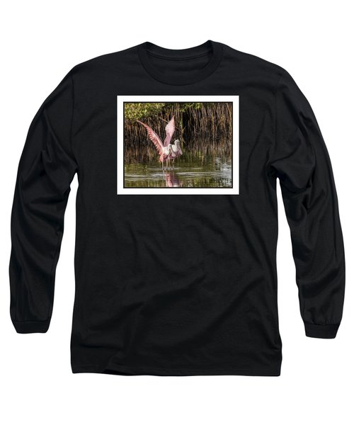 A Pair Of Spoonbills Long Sleeve T-Shirt by Dorothy Cunningham