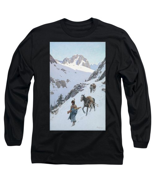 Long Sleeve T-Shirt featuring the drawing A Successful Hunt by Henry Francois Farny