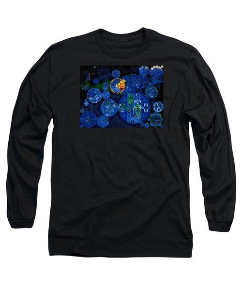 Long Sleeve T-Shirt featuring the digital art Abstract Painting - Dark Midnight Blue by Vitaliy Gladkiy