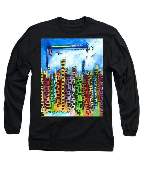 Abstract Pop Art Style Unique Cityscape Skyline Painting By Megan Duncanson Long Sleeve T-Shirt