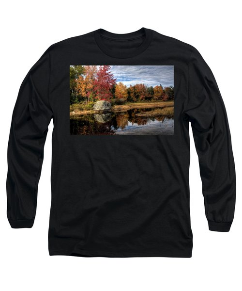 Long Sleeve T-Shirt featuring the photograph Autumn In Maine by Greg DeBeck