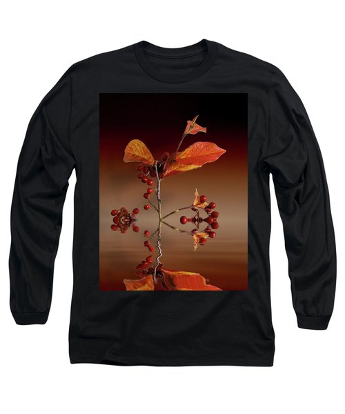 Long Sleeve T-Shirt featuring the photograph Autumn Leafs And Red Berries by David French