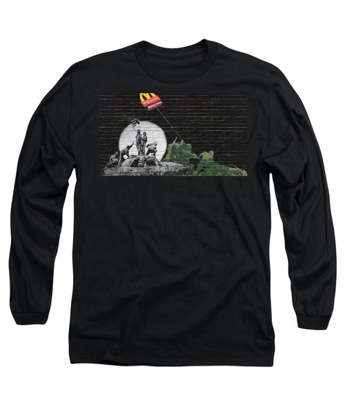 Banksy - The Tribute - New World Order Long Sleeve T-Shirt by Serge Averbukh