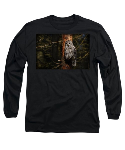 Long Sleeve T-Shirt featuring the photograph Barred Owl In Pine Tree by Michael Cummings