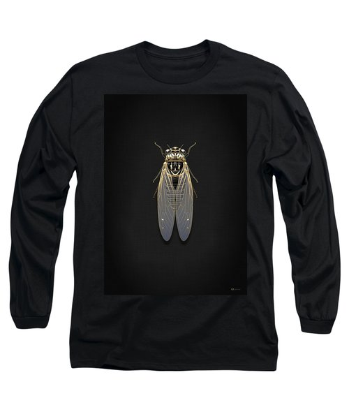 Black Cicada With Gold Accents On Black Canvas Long Sleeve T-Shirt
