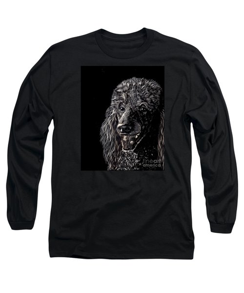 Long Sleeve T-Shirt featuring the drawing Black Standard Poodle by Terri Mills