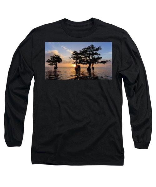 Blue Cypress Lake Morning Long Sleeve T-Shirt