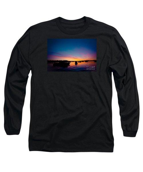 Boats And Sunrise Above Lake Water Summer Time Latvia Ezera Skanas Long Sleeve T-Shirt