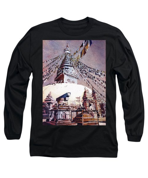 Long Sleeve T-Shirt featuring the painting Buddhist Stupa- Nepal by Ryan Fox