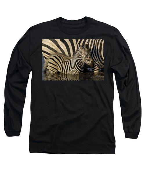 Burchells Zebra Equus Burchellii Foal Long Sleeve T-Shirt