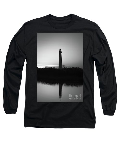 Cape May Lighthouse Reflections Bw Long Sleeve T-Shirt