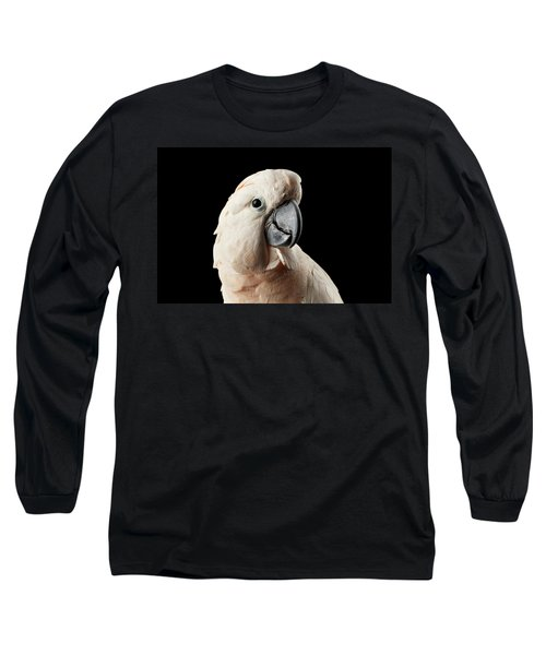 Closeup Head Of Beautiful Moluccan Cockatoo, Pink Salmon-crested Parrot Isolated On Black Background Long Sleeve T-Shirt