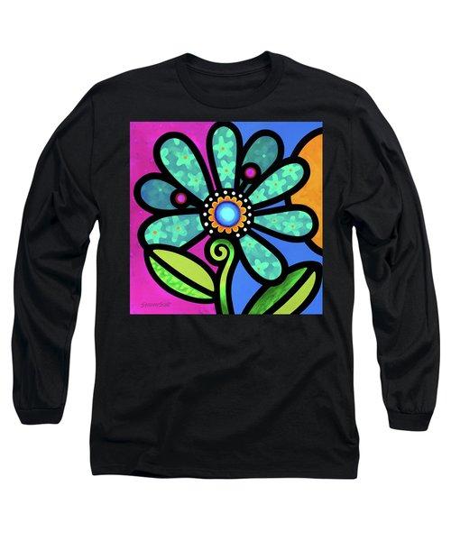 Cosmic Daisy In Aqua Long Sleeve T-Shirt