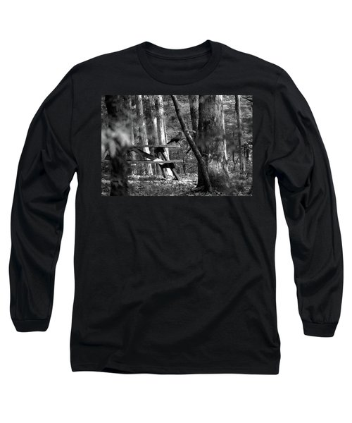 Long Sleeve T-Shirt featuring the photograph Crow On A Table by Andy Lawless