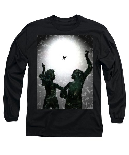 Long Sleeve T-Shirt featuring the digital art Dancing Silhouettes by Holly Ethan