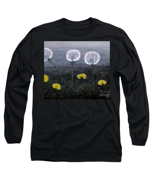 Long Sleeve T-Shirt featuring the painting Dandelion Family by Judy Kirouac