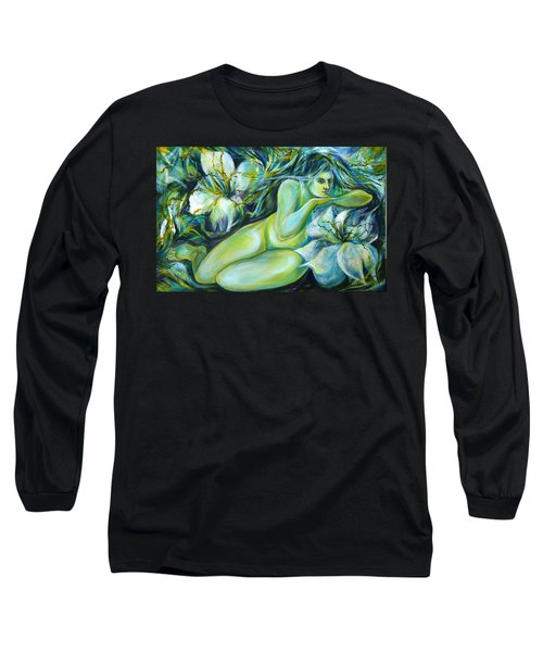 Long Sleeve T-Shirt featuring the painting Dreaming Flower by Anna  Duyunova