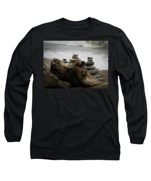 Long Sleeve T-Shirt featuring the photograph Driftwood Cairns by Kimberly Mackowski