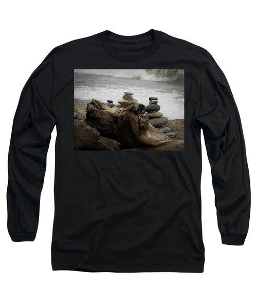 Driftwood Cairns Long Sleeve T-Shirt by Kimberly Mackowski