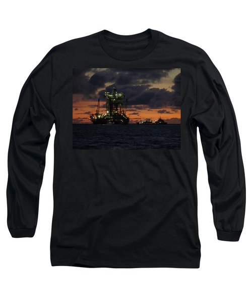 Drill Rig At Dusk Long Sleeve T-Shirt
