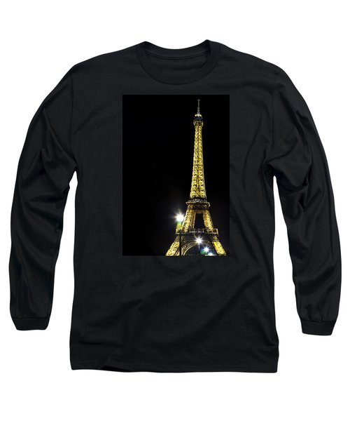 Long Sleeve T-Shirt featuring the photograph Eiffel At Night by Andrew Soundarajan