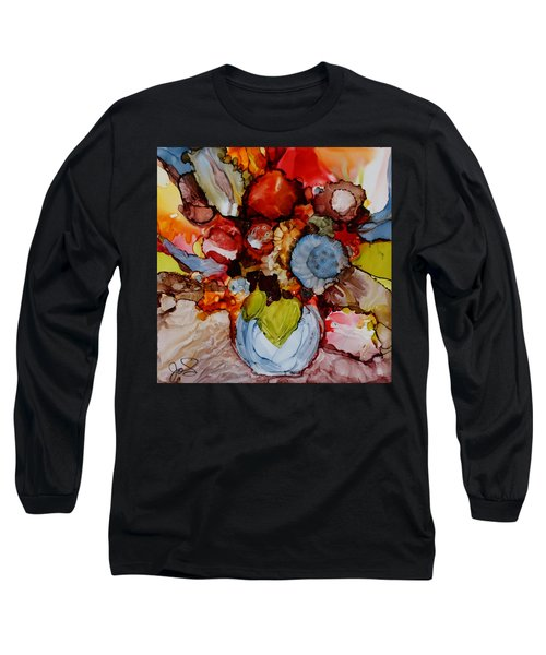 Floral With Blue Vase Long Sleeve T-Shirt by Joanne Smoley