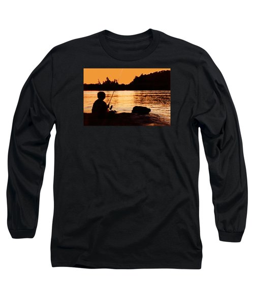 Fishing From A Rock  Long Sleeve T-Shirt by Lyle Crump
